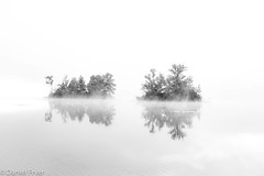 In A Haze (danfryer2) Tags: cottage monochrome 5thanniversary blackandwhite water island mono fog digitalphotography nikond7200 kawarthalakes deerbay