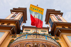 Divine Eye (solas53) Tags: caodai temple colour flag eye building architecture vietnam tayninh