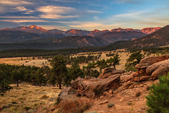 Rocky Mountain Sunrise (chasingthelight10) Tags: photography events travel landscapes mountains colorado places rockymountainnationalpark spraguelake lakes rockymountainelk things horseshoepark dreamlake bearlake morainepark emeraldlake trailridgeroad forests foliage sunrise autumn otherkeywords aspens trees wildlife estespark