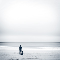Friends... (Bruus UK) Tags: stives cornwall gazing fiends mansbestfriend beachlife dogs beachdog sand sea atlantic blackandwhite bw coastal coast tide watching together outdoorphotography lovecornwall cornwallliving kernow