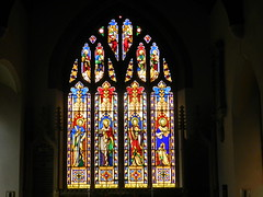 Stained Glass Window, St John the Baptist Church, Bodicote, Oxfordshire, Sep 2018 (allanmaciver) Tags: stained glass window st john baptist bodicote oxfordshire colours details england allanmaciver