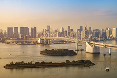 rainbow bridge sunset (David S.M.) Tags: tokyo 東京 bridge rainbow japan landmark sea river travel buildings city office odaiba