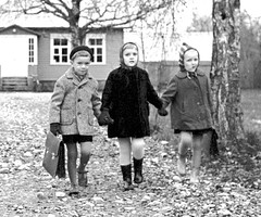 End of the school day (theirhistory) Tags: children kids boys girls jacket jumper trousers wellies shorts coat shoes rubberboots