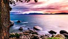 Lake Tahoe Stormy Sunset (JarrodLopiccolo) Tags: laketahoe sunset clouds nd filter lee filters tree pine blue red purple outdoor landscape rocks water nevada sky nature night green sun light canon 1635mm