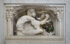Detail of sculpture on the 1915 Thomas Lowry memorial at Smith Triangle Park in Minneapolis, Minnesota, USA - The monument was designed by Austrian-born sculptor Karl Bitter. (thstrand) Tags: 20thcentury adultman american americans art arts artwork businessandindustry carvedstone carving culturalheritage decorativeart employment hardwork historic history karlbitter lowryhill mn malefigure man memorial memorials midwest midwestern minneapolis minnesota monument monuments nobody outdoors outside parks publicart sculpture smithtrianglepark thomaslowry thomaslowrymemorial twincities us usa unitedstatesofamerica vintage visualarts work worker working workingwithyourhands