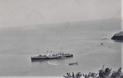 SS Cardiff Queen off Lundy Island 1950 (Bury Gardener) Tags: blackandwhite oldies old snaps scans landscape england uk britain 1950s 1950 monochrome mono bw ship lundy sscardiffqueen