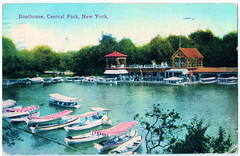 New York - Central Park Boathouse Prior to 1912. And the Lusitania. (pepandtim) Tags: postcard old early nostalgia nostalgic new york central park boathouse success postal co 08101912 waters beverley road east ham london england lusitania friend edith montgomery 1912 35nyc72 boat lake