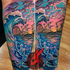 Santacruz Boardwalk Sunset CA California Coast Wave Water Splash Sea Ocean Sky Clouds Color Best Real Realistic 3D Tattoo by Jackie Rabbit