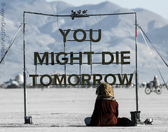 You Might Die Tomorrow by Kate Manser,  Burning Man 2018 (Dust To Ashes) Tags: burningmanfestival burningman2018 burningman irobot theme burning man bm2018 2018 dust ashes dusttoashes wwwdusttoashesnet sculpture sculptures installation installations surreal playa desert nevada gerlach nv blackrockcity brc bruno reno art burningmanart party desertparty people photography photos photo picture pictures ales contemplatingwoman girl youmightdietomorrow katemanser