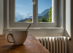 A good start of the day (rehniz) Tags: morning cup coffee view window mountains start summer