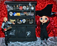 Thor and Little Pullip Cornice (Thor In The Garden, Pullips, Blythe, Monster High,) Tags: thor thoractionfigure pullip littlepullip littlepullipcornice witchdoll hauntedbookshelves skulls miniaturedollfurniture dollhouse halloween spooky diydollhouse