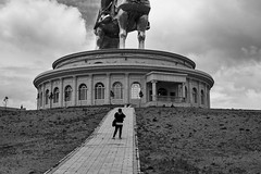 Genghis Khan Equestrian Statue, Mongolia (bm^) Tags: travel genghiskhanequestrianstatue ulaanbaatar mongolië genghis khan equestrian statue distagont228 distagon282zf nikon d700 bw blackandwhite black white blackwhitephotos zf2 zeiss carl nikond700 zwart wit zwartwit mn standbeeld grotesque monument