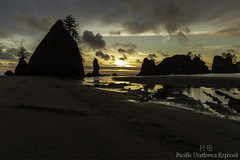 Shi Shi Sunset 2353 (All h2o) Tags: shi beach point arches olympic peninsula sunset national park dusk evening night coast pacific northwest ocean sea stack rock water clouds sky landscape