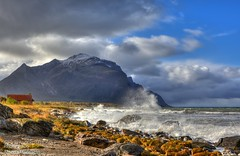 On the beach (mansachs) Tags: hdr landscape seascape nature northern norway nordnorge norge nordland white water fjell storm strongwind