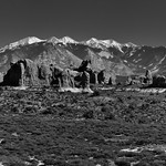 A Panoramic View to the Windows Section, Elephant Butte and the La Sal Mountains...What a View! (Black & White, Arches National Park) thumbnail