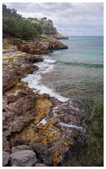 Menorca Coastline (S.R.Murphy) Tags: beach coastallandscape june2014 landscape menorca sea sonynex6 spain sand coast seascape ocean oilpaintfilter photoshop digitalart photoart rock water bay cliff santagaldana balearicislands