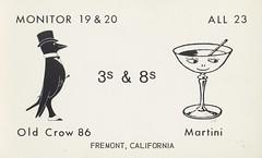 Old Crow 86 & Martini - Fremont, California (73sand88s by Cardboard America) Tags: qsl cbradio vintage california qslcard citizensband cb