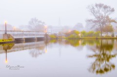 It was foggy autumn morning (tetyanaohare) Tags: asburypark newjersey nikonflickraward nikon bridge environment mystical peaceful travel leisure outdoors scenic dreamy landscape nature fall autumn reflection park river water lake morning mist fog