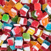 High Angle View of the Bulk of Colorful Gummy Jelly Candy Cubes
