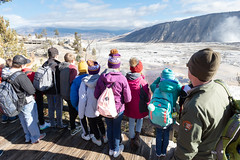 Ranger Mike talks about Mammoth Hot Springs with a school group (YellowstoneNPS) Tags: mammothhotsprings ynp yellowstone yellowstonenationalpark boardwalk employees fall parkrangers people schoolgroup