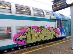 HASK (StrangeSpotter) Tags: graffiti graffitiart graffititrain graff traingraffiti train art crew streetart street paintedtrains assa assacrew