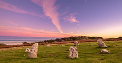 15th October 2018 (Rob Sutherland) Tags: megalith megalithic stonecircle stones standing small druid circle henge birkrigg common sea wood morecambe bay cumbria cumbrian lancashire lancastrian uk england english britain british ancient history historic monument archaeology archaeological site prehistoric prehistory stoneage bronzeage ritual ritualistic view postcard scene scenic landscape dusk sunset late autumn autumnal fall