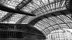 Flowing into Paris (vincentag) Tags: paris france chatelet subway train station roof modern architecture ceiling metal glass beams