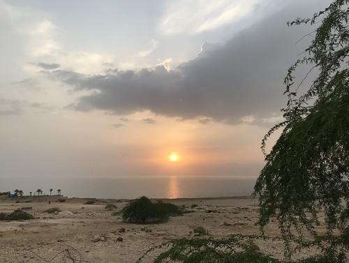 Sunset and heavy Rains, the Dead Sea, Jordan.