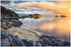 beach (bjorns_photography) Tags: beach sand sunset sunlight clouds view rock reflection landscape nature photography
