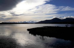 Looking into the sun:  the Mourne Mountains from Dundrum Bay (ronmcbride66) Tags: sea mountains bay landscape mournes codown bigsky mountainsofmourne batholith granite vista silhouette coth coth5