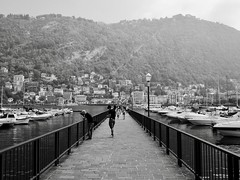 Photographer (docwiththecamera) Tags: pier photographer fence lamp lampost sail hill lake como italy people