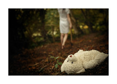 Abandonment (trailie) Tags: girl woods forest darkness scary death axe mysterious dress barefeet whitedress