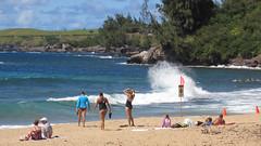 Can't Wait to get my Feet Wet (PDX Bailey) Tags: wave hawaii maui blue coast swim suit swimsuit flag tree sky orange cone