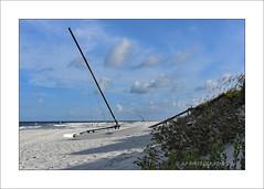 Beached (prendergasttony) Tags: beach boat nikon d7200 florida america sand sea nature sky clouds blue white waves ocean atlantic dunes steps boardwalk jacksonville rightangle geometric