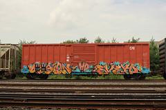 Demon, Evero (NJphotograffer) Tags: graffiti graff trackside railroad rail art freight train bench benching box car boxcar demon evero hd crew hdk