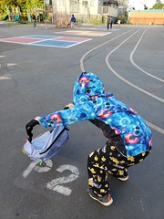 Chucking down his backpack (quinn.anya) Tags: sam kindergartener p2 tk sylviamendezelementary backpack
