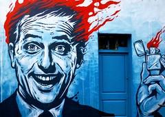 Urban art at Brick Lane, London (Tony Worrall) Tags: graff art work artwork graffiti mural street streetart london bricklane south southern wall painting painted muralart buy sell sale bought stock item londonurbanart londonstreetart bricklaneart color colour colours man face burning burn english uk britain british artist arty graffitiart