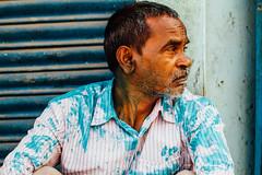 Man in Blue Gulal For Holi, Baldeo India (AdamCohn) Tags: 012kmtobaldevinuttarpradeshindia abeer adamcohn baldeo baldev india uttarpradesh candid geo:lat=27407890 geo:lon=77822101 geotagged gulal holi portrait street streetphotography wwwadamcohncom अबीर गुलाल