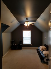 Homewood bedroom, After fresh light gray paint with dark gray accents.