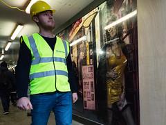 Non Stop (stevedexteruk) Tags: soho billboard hoarding construction worker worman hardhat workman builder striptease sign walkerscourt london uk 2018