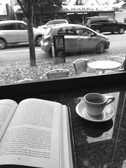 Cafe (clearbrook4) Tags: cafe espresso book coffee reading vancouver monochrome cars traffic