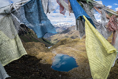 Small lake and prayer flags from Keche La pass - Gasa District - Snowman Trek - Bhutan (PascalBo) Tags: nikon d500 asie asia southasia asiedusud drukyul drukgyalkhap bhutan bhoutan འབྲུག་ཡུལ། འབྲུག་རྒྱལ་ཁབ་ snowman trek trekking hike hiking lunana gasa himalaya himalayas jigmedorjinationalpark mountain montagne buddhism bouddhisme religion lake lac outdoor outdoors pascalboegli