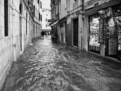 Venedig (ingrid eulenfan) Tags: italien italy italia venedig stadt hochwasser schw blackandwhite strasse gasse