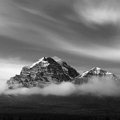 Mount Temple (Mabry Campbell) Tags: bowvalley banffnationalpark squarecrop iphone october moody dark snow blackandwhite mounttemple mountain alberta canada banff 2018 fav10 fav20 fav30 fav40 fav50 fav60 fav70 fav80 fav90 fav100