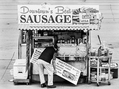 """Downtown's Best"". (Nance Fleming) Tags: streetvendor vendor sausage hotdogs food eat sell advertise sign"