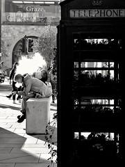 Morning break.... (nigethorpe) Tags: huaweip9lite huaweivnsl31 huawei mobilephoto mobilephone cameraphone cellphone monochrome mono blackandwhite bw snapseed streetphotography vaping bath phonecamera people urban street southgate telephonebox