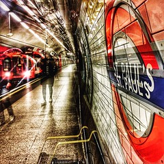 Seeing Double (No Great Hurry) Tags: dynamic red tfl tunnel loughton diagonals stpauls londonunderground station tube train centralline doubleexposure iphone6 nogreathurry robinmauricebarr square abstract london