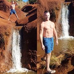 waterfall (ddman_70) Tags: shirtless pecs abs muscle hiking flexing waterfalls