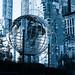 Columbus Circle globe B&W