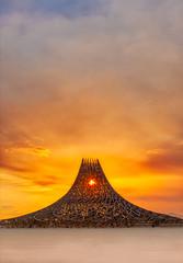 Temple Sunrise (Stuck in Customs) Tags: green burningman 2018 temple treyratcliff stuckincustoms stuckincustomscom treyratcliffcom sunrise wood architecture clouds sand dust desert